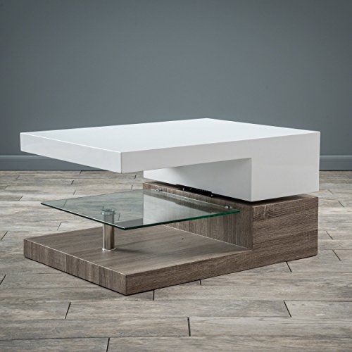 Great Deal Furniture Emerson Rectangular Mod Swivel Coffee Table w/Glass