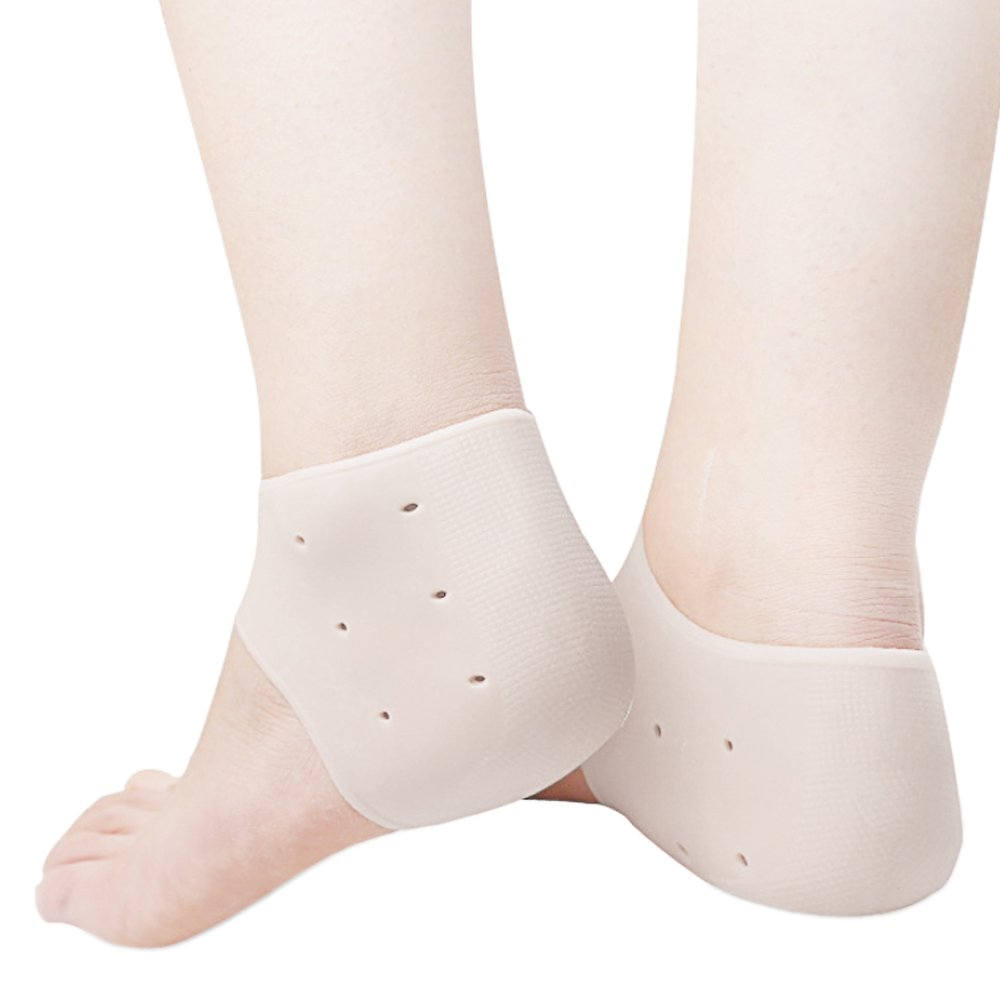 Elisona-1Pair Gel Heel Socks Soft Silicone Spa Moisturizing Heel Skin Care Protector with Breathable Holes for Relieving Feet Pain White
