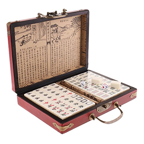 Mini Travel Board Game Chinese Antique Mahjong in Jewelry Case Box Fun Toys