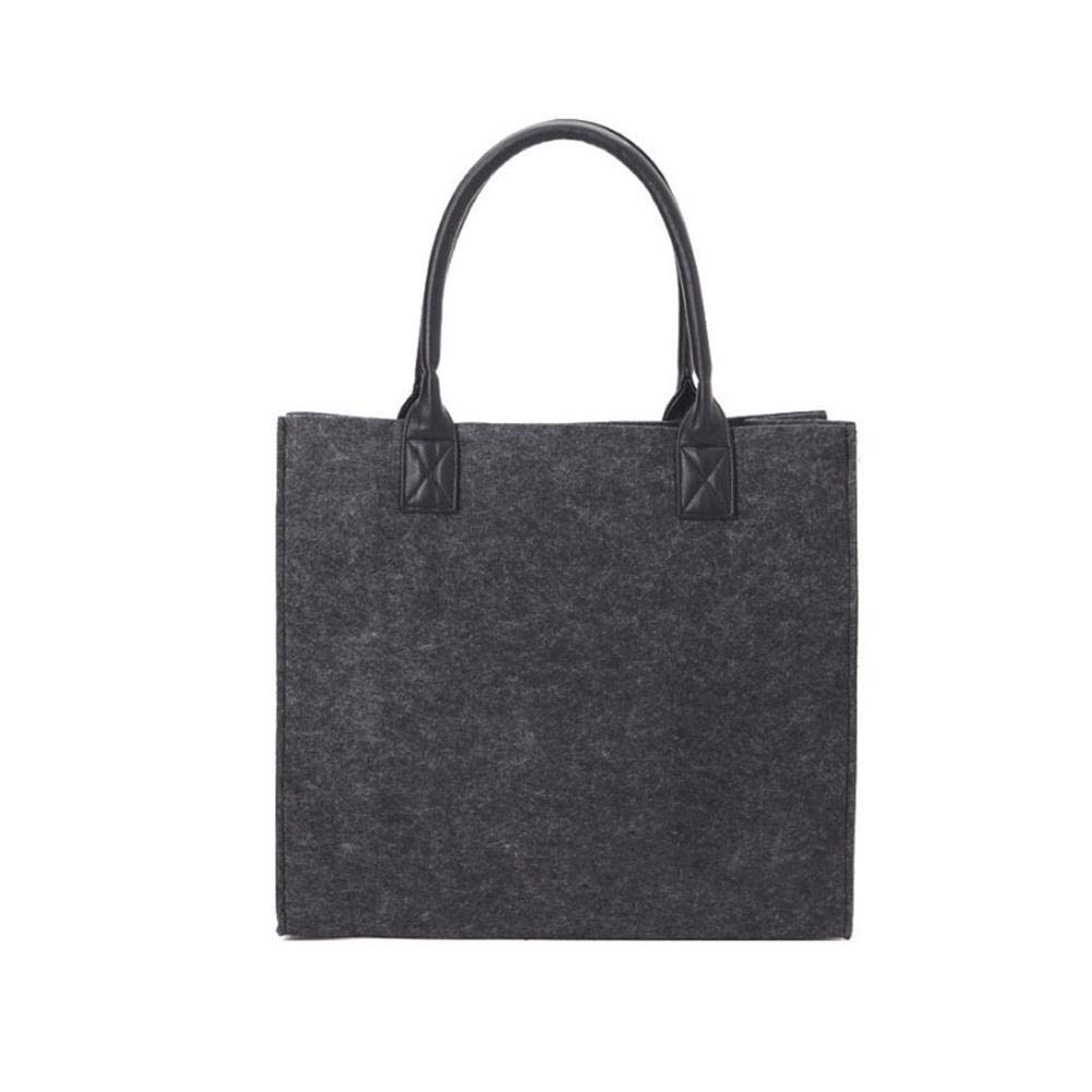 HEYJUDY New Felt Shopping Bag Dark Grey Storage Bag Felt Women Bags Handle Shopping Bag Durable & Eco Friendly