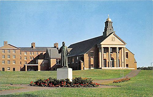 Christ The Teacher Chapel & Statue at Merrimack College North Andover Massachusetts Postcard Chapel Statue