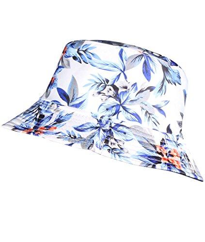 Womens Sun Hats Mens Bucket Hat Pattern Camping Hat White and Blue Bucket Hat (Women Blue Bucket Hats)
