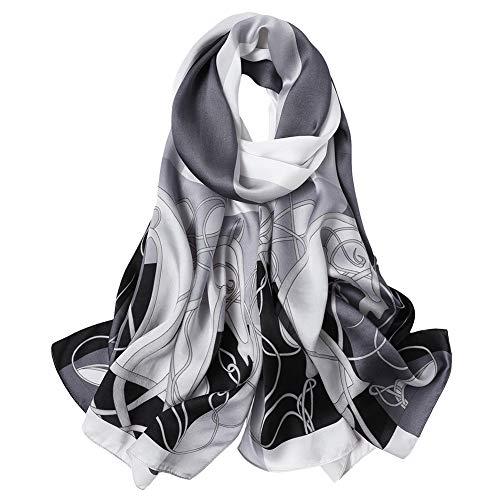 Silk Scarf Shawl Wrap Art - Women's Silk Scarf Fashion Sunscreen Shawls Wraps for Headscarf&Neck