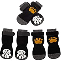 SCIROKKO 3 Pairs Anti-Slip Dog Socks - Adjustable Pet Non-Skid Paw Protection with Golden Paw Pattern for Puppy Doggy Indoor Traction Control Wear on Floor