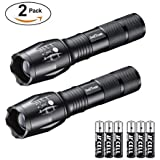 swiftrans Tactical Flashlight, Ultra Bright LED Flashlight with Adjustable Focus and 5 Light Modes - Zoomable, IPX4 Water-Proof, High Lumens Cree XML T6 LED, 6 AAA Batteries Included(2 Pack)