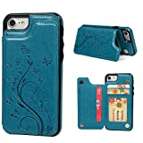 iPhone 7 Card Holder Case, iPhone 8 Wallet Case Embossed Butterfly Slim Folio