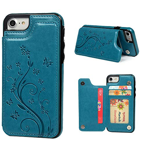 iPhone 7 Card Holder Case, iPhone 8 Wallet Case Embossed Butterfly Slim Folio Leather Cover Shockproof Shell with Credit Card Slot Protective Skin for iPhone 7 & ()