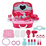 Yosoo Children Simulation Beauty Makeup Kit Kids Pretend Play Toys Set with Portable Suitcase, Non-Toxic Eco-Friendly with Smooth Edge A Wonderful Gift
