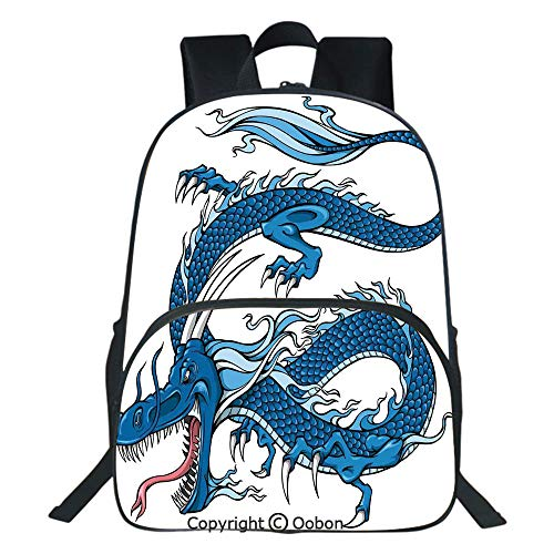 Oobon Kids Toddler School Waterproof 3D Cartoon Backpack, Legend Dragon Mythical Creature Japanese Culture Folk Icon Print, Fits 14 Inch Laptop ()