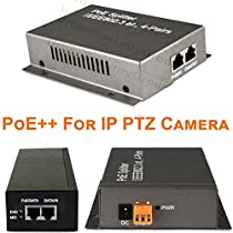 USG High Powered PoE++ Injector & Splitter Device Pair For IP PTZ Speed Dome Cameras : 54W Max Output, 4.5A @ 12V : Use One Network Cable To Transit PTZ Camera Video, Power & Control : Business Grade