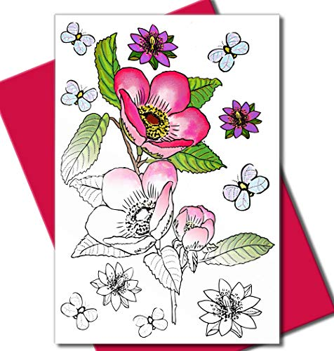 Art Eclect Adult Coloring Flower Greeting Cards for Birthdays, Anniversary, Thank You and Sympathy Cards (10 Cards and Fuchsia Envelopes, Set B/Pink)
