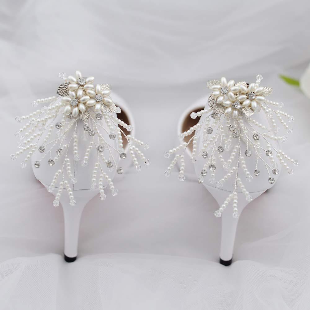 ULAPAN Schuh Clip Deko Hochzeit Party Schuh Zubeh/ör Crystal Strass Charm Schuh Schnalle Clips(1 Paar)