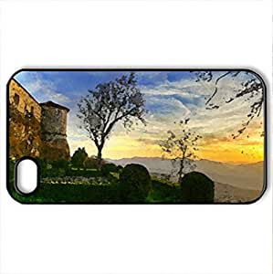 the secret castles garden - Case Cover for iPhone 4 and 4s (Skyscrapers Series, Watercolor style, Black)