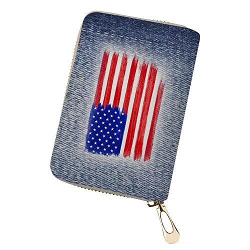 Purse for Denim Wallet Flag flag Men Business Credit Travel Wallet 1 Card Card 4qpBv