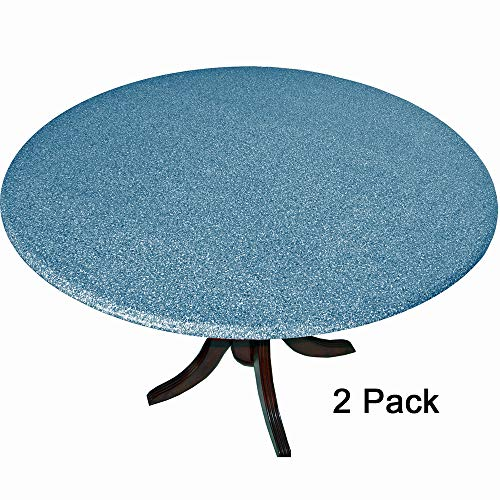 2 Pack of 2 Fitted Tablecloths Tablecovers Table Covers Granite Look Blue fits 36-48
