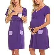 Ekouaer Women's Short Sleeve Maternity Dress Nursing/Breastfeeding Nightgown Dress (Purple M)