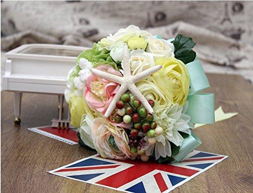 Continental American Designe Starfish artificial cloth flower roses bouquet Wedding sunshine star Bouquet Satin Roses Flower