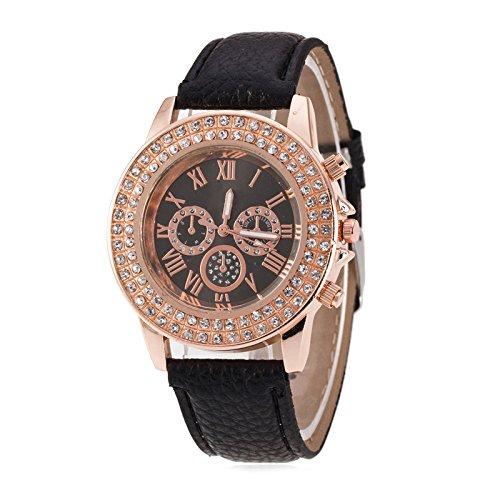 Mujeres Reloj - Geneva Reloj para mujeres, correa de cuero color negro