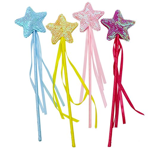 Fairy Princess Glitter - Buorsa 4 Pack Princess Magic Wand, Star Fairy Wands, Kids Magic Wand Party Favor