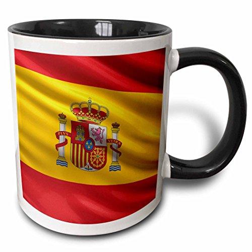 3dRose Carsten Reisinger Illustrations - Spain Spanish Flag Banner Coat of Arms National Country - 15oz Two-Tone Black Mug (mug_154975_9) ()