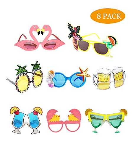 Funny Sunglasses,Novelty Party Sunglasses, Creative Funny Sunglasses, Funny Hawaiian Tropical Sunglasses,Luau Fancy Dress Party Supply, Hawaii Themed Sunglasses,Beach Photo Booth Props(8 Pack) -