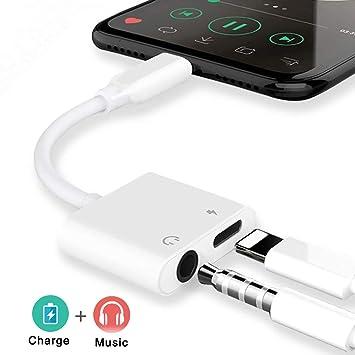Adaptador de Conector de Auriculares de 3,5 mm para iPhone 8 Adaptador de Auriculares y Cargador para iPhone Adaptador de Conector de Auriculares ...