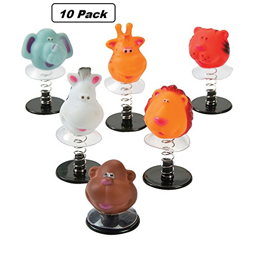 Plastic Zoo - Plastic Zoo Animal Pop-Up Toys - Pack Of 10 - 1.75 To 2.25 Inches, Assorted Colored Animals - Fun And Cool Animal Head Pop-ups - For Kids Great Party Favors, Toy, Fun, Gift, Prize - By Kidsco