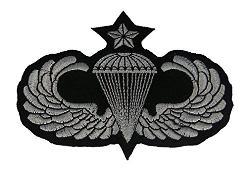 Senior Parachutist Badge (SENIOR PARACHUTIST BADGE PATCH - Black/Silver - Veteran Owned)