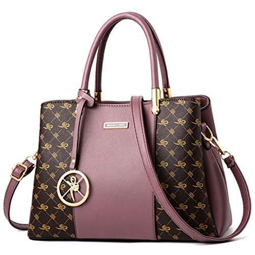 (KURGOOL Women Purses and Handbags Top Handle Satchel Shoulder Bags Messenger Tote Bag For Ladies, Purple, One Size )