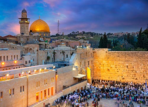 8x6ft Cityscape Image of Jerusalem Israel with Dome of The Rock and Western Wall at Sunset Pictorial Cloth Customized Photography Backdrop Digital Printed Background Photo Studio Prop 901