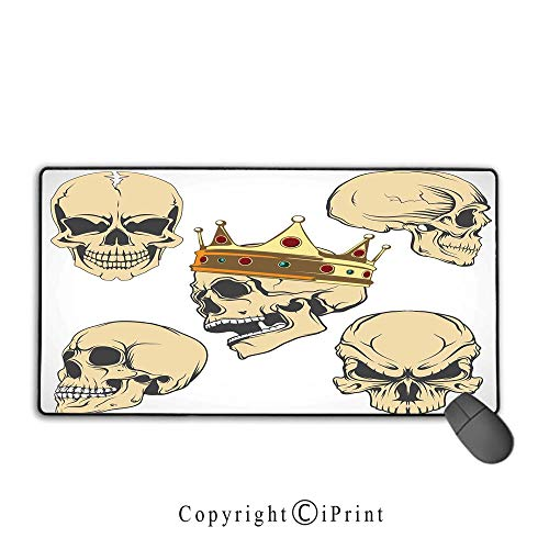 Extended Mousepad with Durable Stitched Edges,Skull Decor,Skulls Different Expressions Evil Face Crowned Death Monster Halloween,Sand Brown Yellow, Non-Slip Rubber -