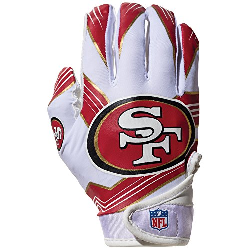 NFL San Francisco 49Ers Youth Receiver Gloves,White,Medium