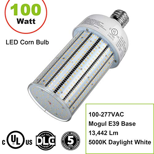 (NUOGUAN 400W ED28 Mercury Vapor HID Replacement 100W LED Corn Bulb E39 Mogul Base Street Lights Crystal 5000K White Pc Cover 13442 Lumens for Parking Lot Backyard Barn Billboard (100))