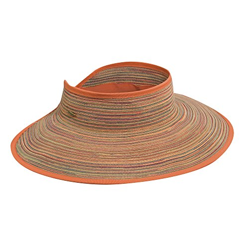Scala Poly Braid Roll Sun Big Brim Visor Hat (Spice)