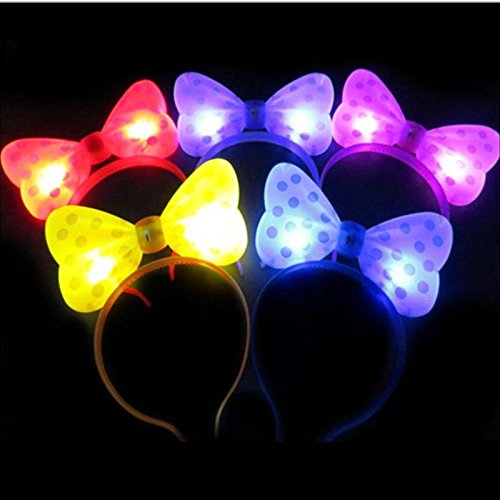 12 PC Light Up LED Flasing Ears and Polka Dot Bows Headbands - Various Styles (Plastic (Led Headband)