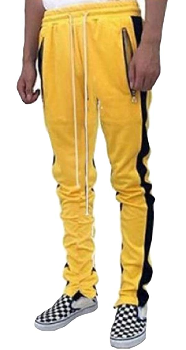 Coolred-Men Pocket Zipper Strip Elastic Waist Drawstring Jogging Pants