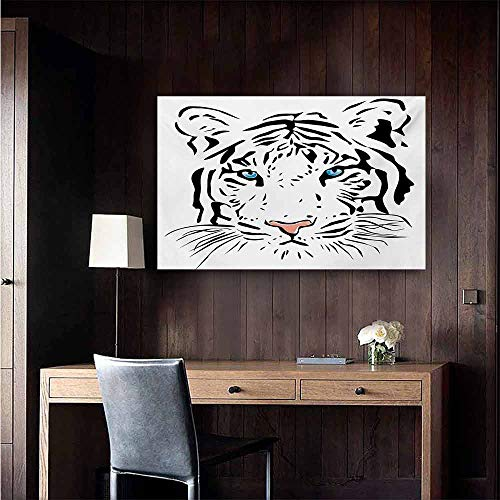 (duommhome Tattoo Chinese Classical Oil Painting The Head of Magnificent Rare White Albino Tiger with Ocean Blue Eyes Image for Living Room Bedroom Hallway Office 32