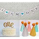 """(set of 7)One Cake Topper 1st First Birthday Cake Decoration Double Sided Gold Glitter Stock + First Birthday-""""I Am One""""- Banner For Baby Girl +5 Lovely crown birthday cap"""