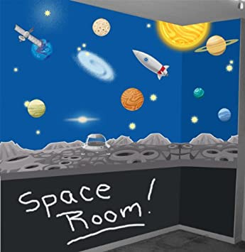 Space Wall Mural Decals Solar System Wall Stickers for Kids Room