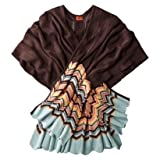 Missoni Womens Zig Zag Ruana Shawl - Brown/Colore