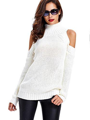 Young17 Women's Long Sleeve Cold Shoulder Turtleneck Sweater Pullover Crochet Jumper (Cold Shoulder Turtleneck)
