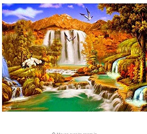 GIZIGI 5D DIY ダイヤモンドペインティング 滝 ダイヤモンド モザイク 風景 ダイヤモンド 刺繍 クロスステッチ 装飾 40X50 cm フレームレス B07PCQQ267