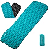 Naturalife Easy-Inflating Sleeping Pad for Camping, Backpacking & Hiking, Blue-Green Top and Black Bottom
