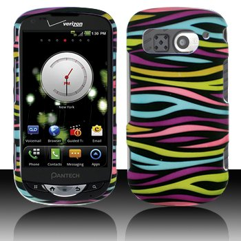 Zebra Rubberized Snap (Black with Rainbow Color Zebra Rubberized Snap on Hard Skin Shell Cover Case for Pantech Breakout 8995)