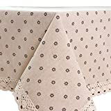 Oyeahbridal Country Style Vintage Cotton Linen Tablecloth Lace Macrame Decorative Fabric Dining Table Cover