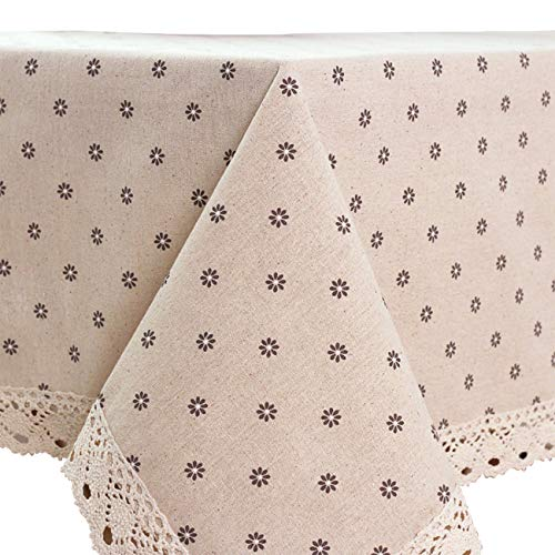 (Oyeahbridal Country Style Vintage Cotton Linen Tablecloth Lace Macrame Decorative Fabric Dining Table Cover)