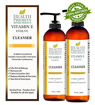 100 Natural Vitamin E Facial Cleanser. Best ever face wash for dry to oily skin. Anti-acne anti-blemish clearing cleansers better than soap