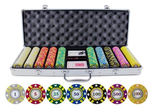 500 Piece Stripe Suited V2 Clay Poker Chips Set by JP Commerce