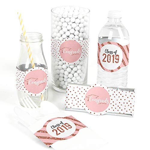 Rose Gold Grad - DIY Party Supplies - 2019 Graduation Party DIY Wrapper Favors and Decorations - Set of 15 ()