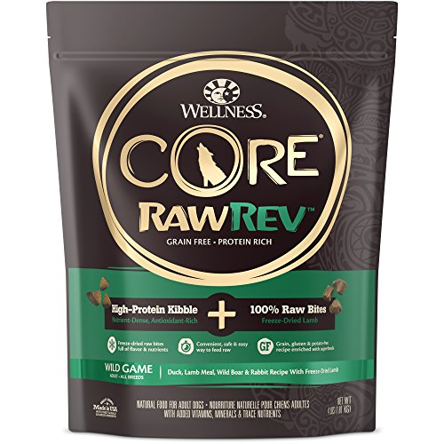 Wellness Core Rawrev Natural Grain Free Dry Dog Food, Wild Game Duck, Wild Boar & Rabbit With Freeze Dried Lamb, 4-Pound Bag